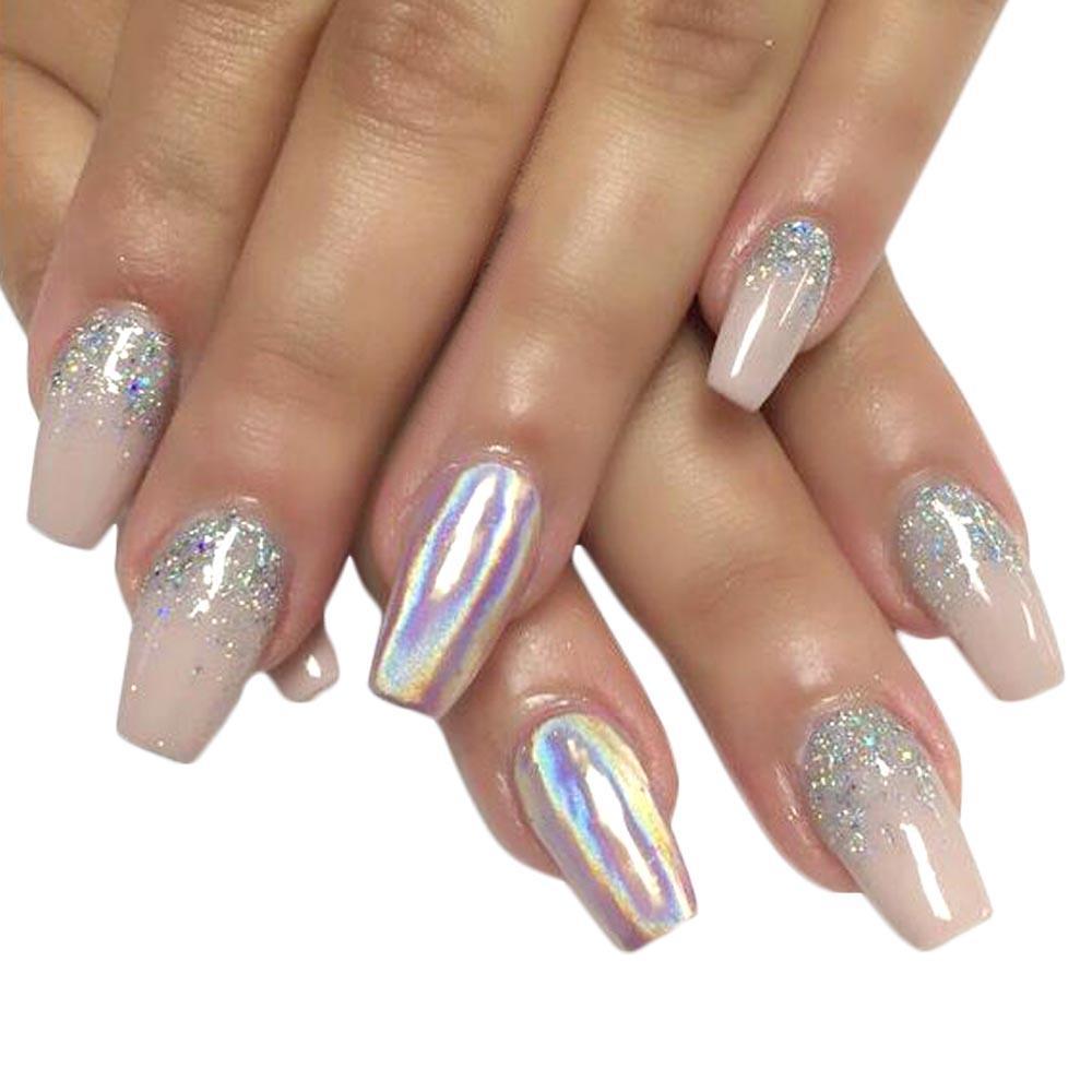 0.15 g Ayna Toz Holografik Gökkuşağı Tırnak Glitter Süper Shinning Gradyan Lazer Pigment Manikür Nail Art Dekorasyon CH155