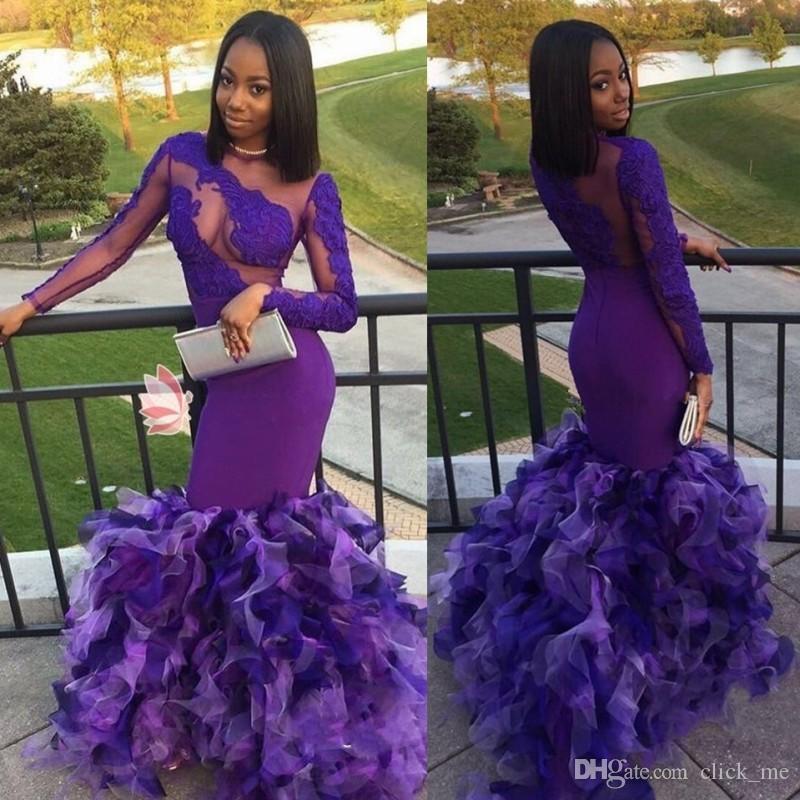 Mangas largas africanas púrpuras Vestidos de noche Cuello escarpado Apliques de encaje Sirena de tul con gradas Vestido de fiesta Vestidos Vestidos de fiesta negros para niñas