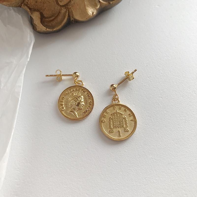 LouLeur 925 Ayar Gümüş Dolar Sikke Küpe Altın Portre Bir Cents Kadınlar Için Yuvarlak Dolar Para Kolye Kolye Takı