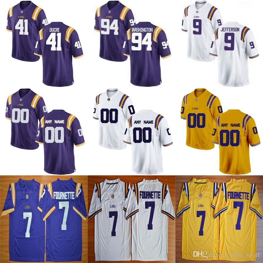 big sale 2dea5 6e5c0 2019 Mens LSU Tigers College 18 Christian LaCouture 28 Darrel Williams 83  Russell Gage Purple Yellow Gold White Stitched Adult Ladys Kids Jerseys  From ...