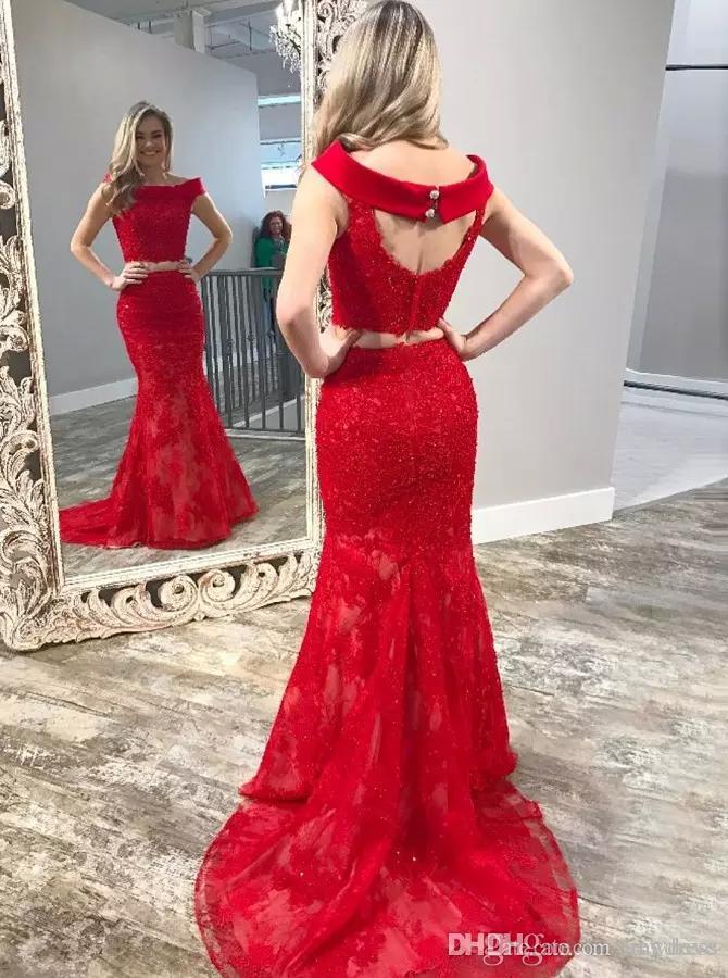 С плеча из двух частей вечерние платья выпускного вечера кружева аппликация из бисера русалка выпускные бальные платья красное платье ковер на заказ вечерние платья
