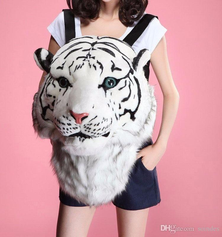 Fashion Tiger Head Bag Knapsack Lion Backpack White Tiger Head Bags Unisex Zipper Backpack Free Shipping