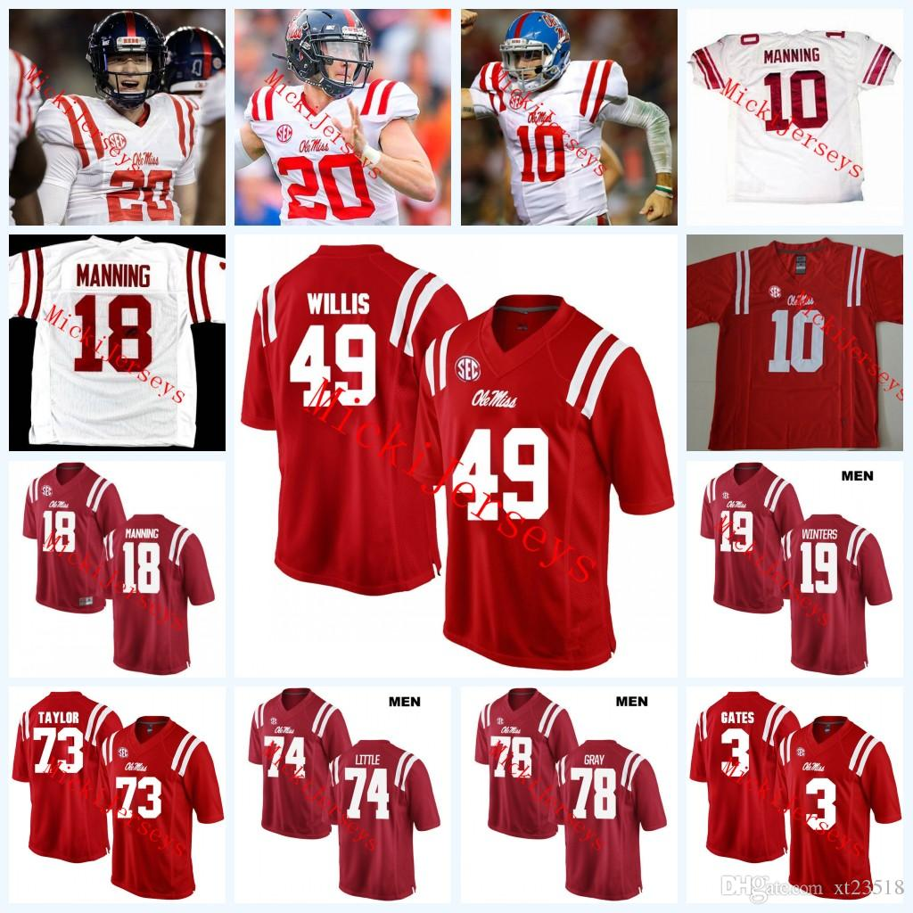 huge selection of 35102 d2293 2019 Custom Ole Miss Rebels Football Jersey Ken Webste Bo Wallace Markel  Winters Will Gleeson Archie Manning Rod Taylor DeMarquis Gates Jersey From  ...