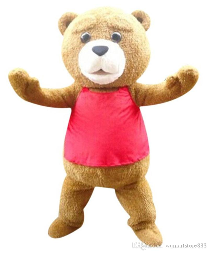 Teddy Bear Mascot Costume Brown Bear Cospaly Cartoon Character adult Halloween party costume Carnival Costume