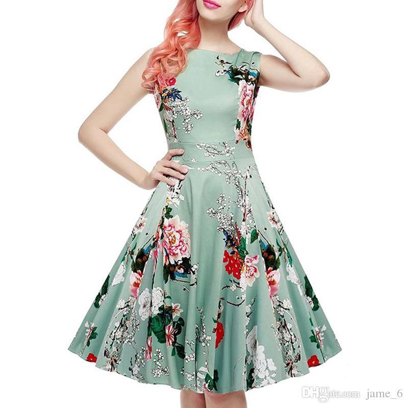 Floral Print Summer Casual Dress Women Sleeveless Tunic 50s Vintage Dress Belt Elegant Rockabilly Party Dresses Sundress