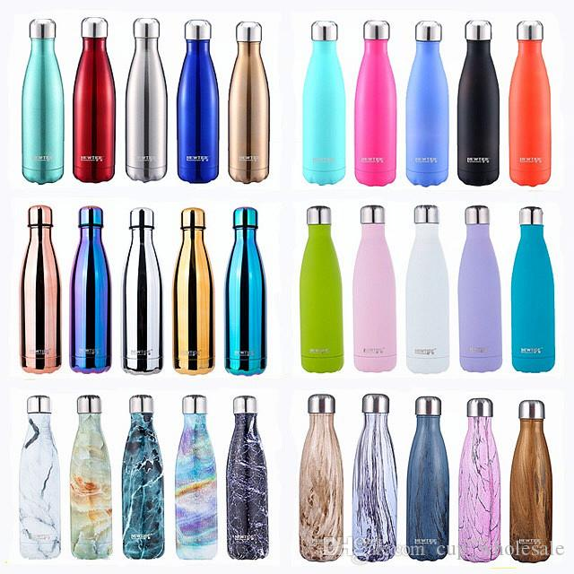 16 oz 30 Stil Dazzle Renk Vakum Yalıtımlı Kola Şişesi Paslanmaz Çelik Özelleştirilebilir Su Şişesi Açık Kola Şeklindeki Su Şişesi