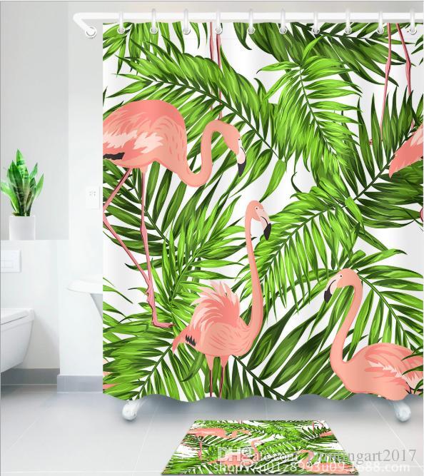 Прекрасный фламинго душ занавес водонепроницаемый полиэстер ткань ванная комната декор мульти размер печатных душ занавес с крючками коврик наборы