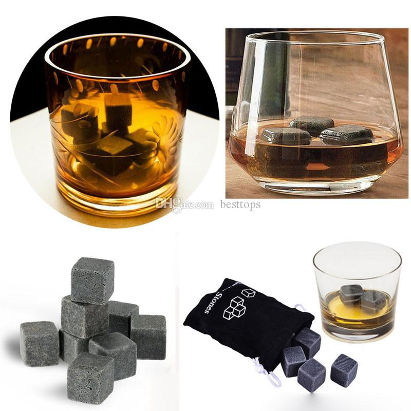 9pcs/Lot Natural Whiskey Stones New Magic Whisky Cooling Stone Ice Cubes Rocks Cold Glacier Stone Free Shipping