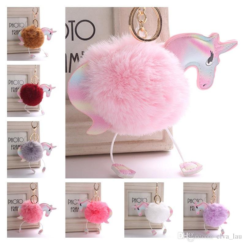 Fluffy Unicorn Pony Keychain 16 Styles Lovely Faux Rabbit Fur Pom Pom Keyring Bag Car Key Ring Pendant Hang Bag Accessories