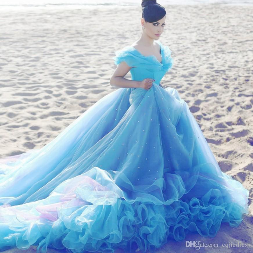 2019 Nuevo Cenicienta Azul Azul Vestidos de novia Barato Bola de Cristal Barato Off Hombro Beads Corte Tren Vestido nupcial Vestido De Novia 2018