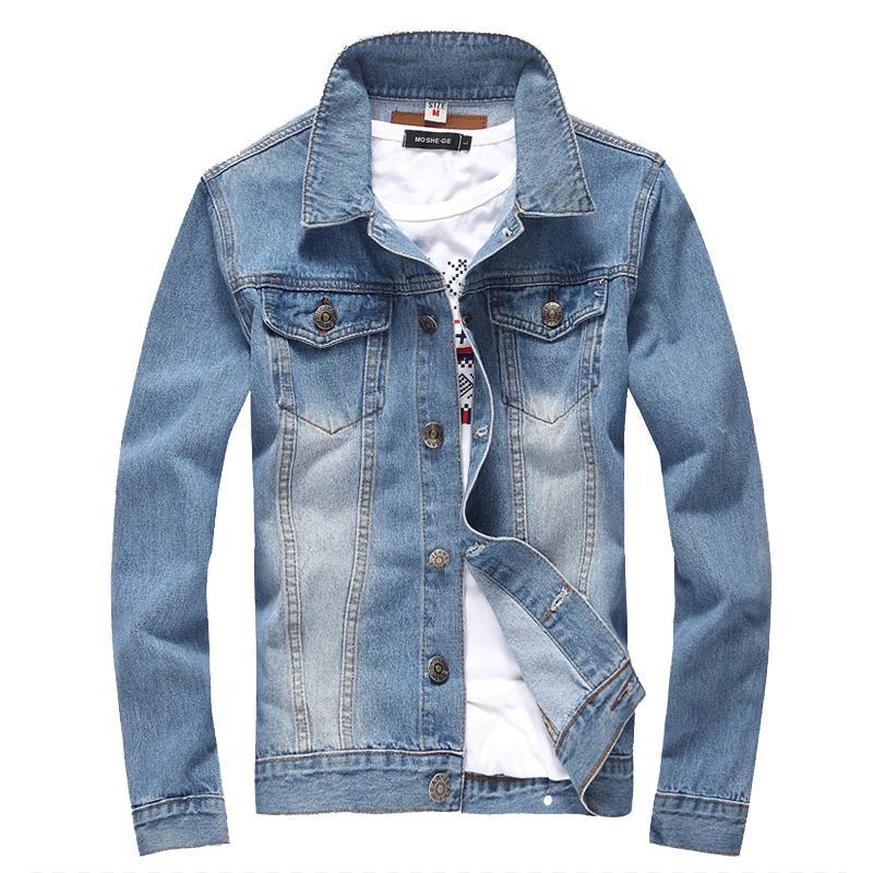 Giacca uomo Denim Uomo Manica lunga College Outwear Jeans Giacca e cappotti Stile coreano Formato asiatico M -5xl Top slim
