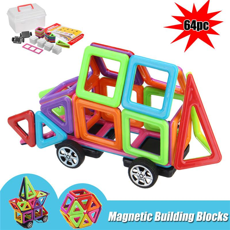 64 Stücke Kinder Magnetblöcke Gebäude Spielzeug Pädagogisches Bau Magnet Fliesen Kinder Geschenk