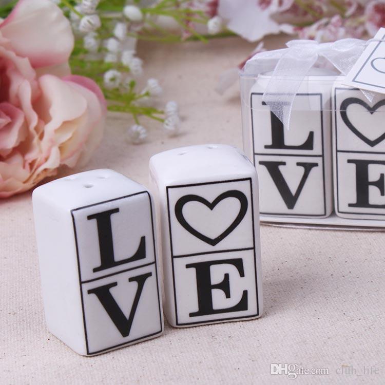Toptan sıcak satış aşk kelime seramik tuz ve biber çalkalayıcı hediye düğün favor 100 takım = 200 adet Ücretsiz kargo