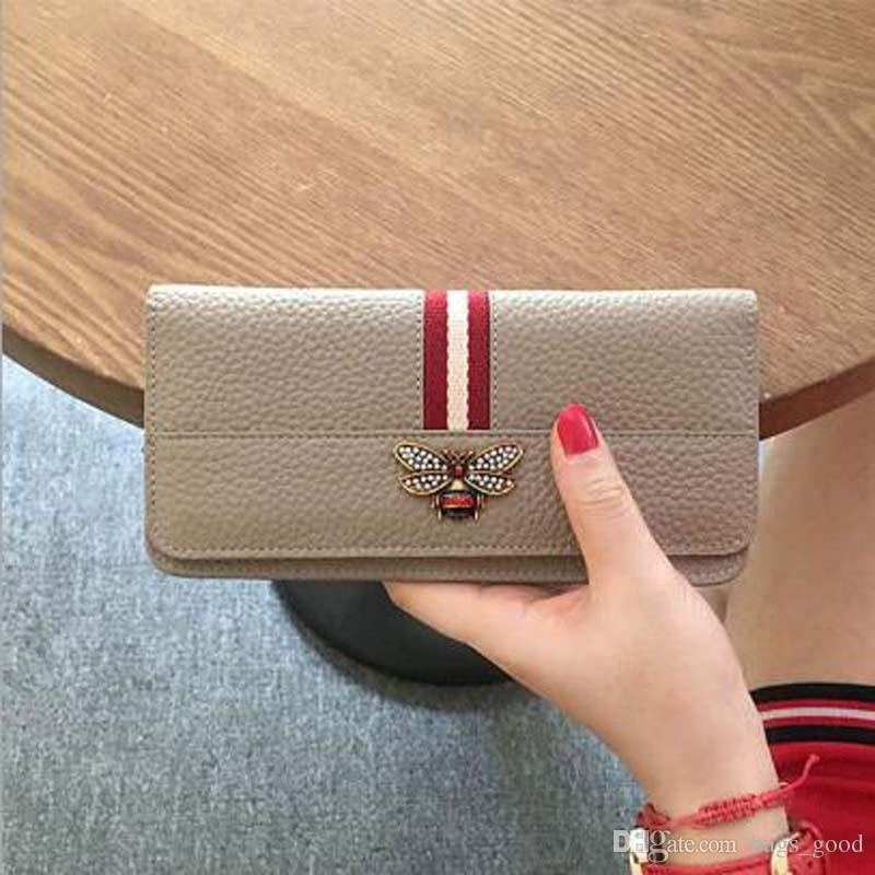 Rsulx Leather Genuine Clutch Leather Wallet Lady Cow Purse Wallet Ladies Fashion Long Female New Purse Bee Women Ucpnu