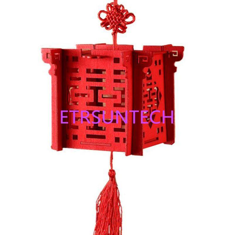 Linterna China Rojo De Madera Caja de Dulces de Corte Por Láser De La Boda Para La Novia Ducha Doble Felicidad Cajas Del Favor de La Boda QW8003