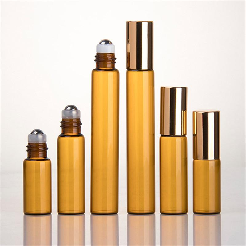 50pcs/lot 1ML 2ML 3ML 5ML 10ML Amber Roll On Roller Bottle for Essential Oils Refillable Perfume Bottle Deodorant Containers