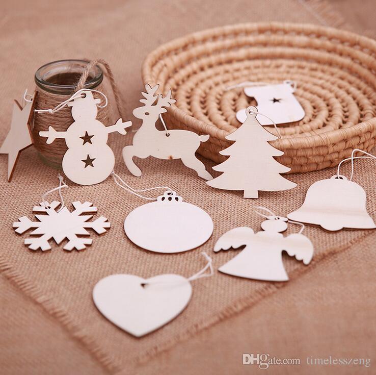 10PCS/SET Christmas decoration wood chip Christmas tree ornaments hanging DIY pendant Xmas home party decor Xmas gift crafts