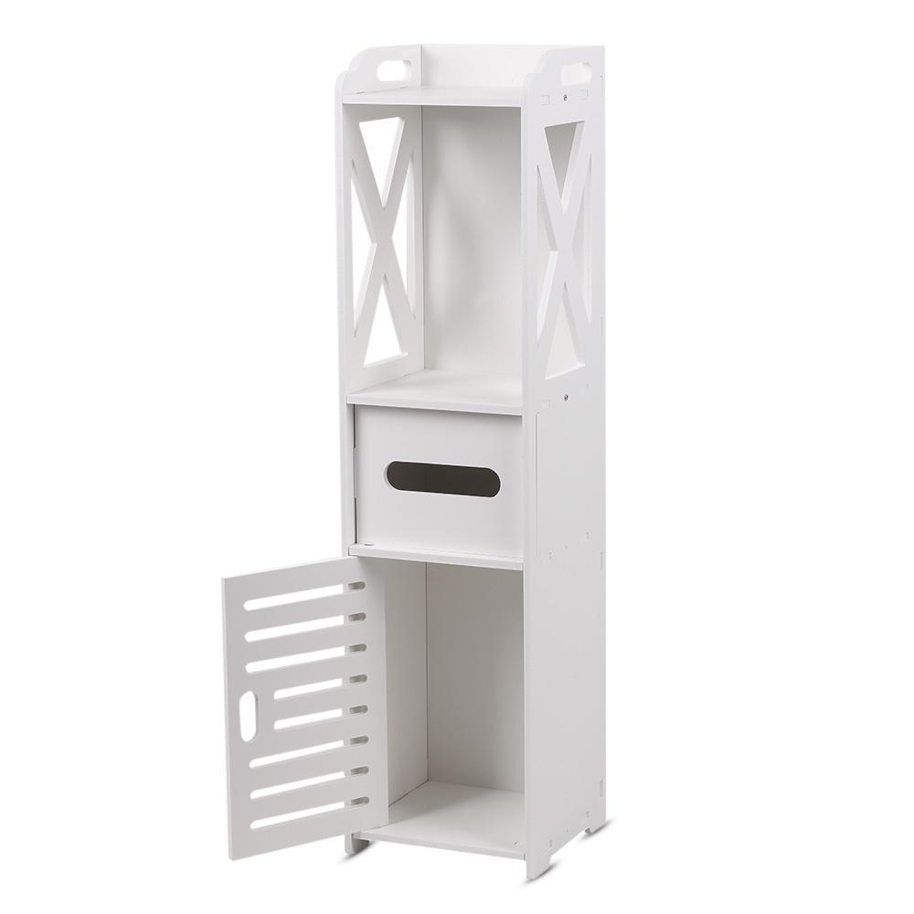Bathroom Floor Cabinet Storage Organizer White Storage Floor Cabinet Modern Wall Shutter Door Bathroom Organizer Shelf Home Free Shipping VB
