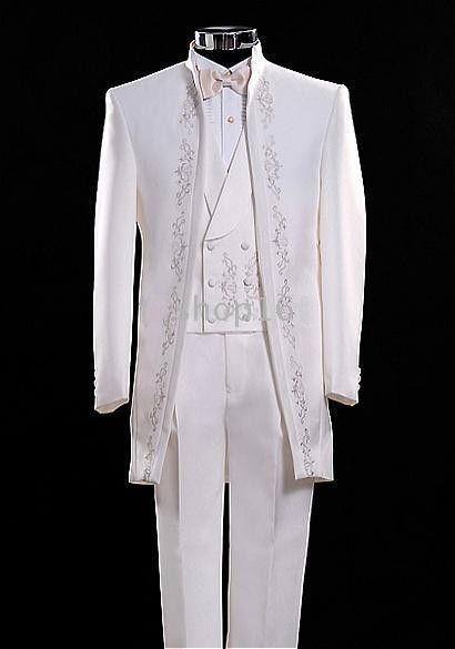 Classic Long Pattern Embroider Groomsmen Mandarin Lapel Groom Tuxedos Men Suits Wedding/Prom/Dinner Best Man Blazer(Jacket+Pants+Tie+Vest)