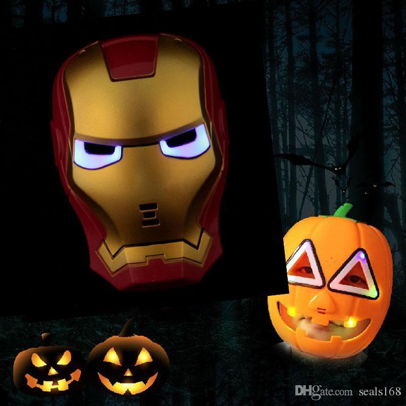 LED Flaş Maske Çocuk Cadılar Bayramı Maskeleri Parlayan Aydınlatma Maskesi Avengers Hulk Kaptan Amerika Ironman Spiderman Parti Maskesi Ücretsiz DHL HH7-879