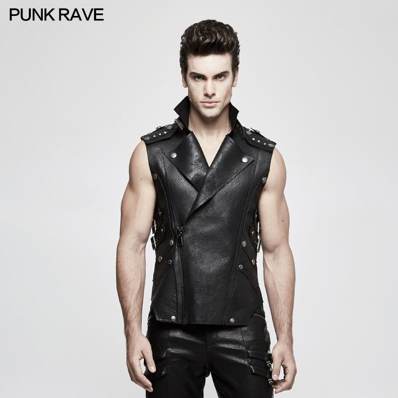 Punk Rave Men's Black Gothic Rock Biker Style Leather Vest Jacket Shirt Personality Y812