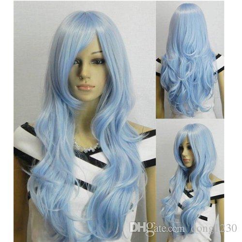 """33 """"perruques frisées bouclées ondulées de cosplay Halloween pour les femmes bleu clair"""