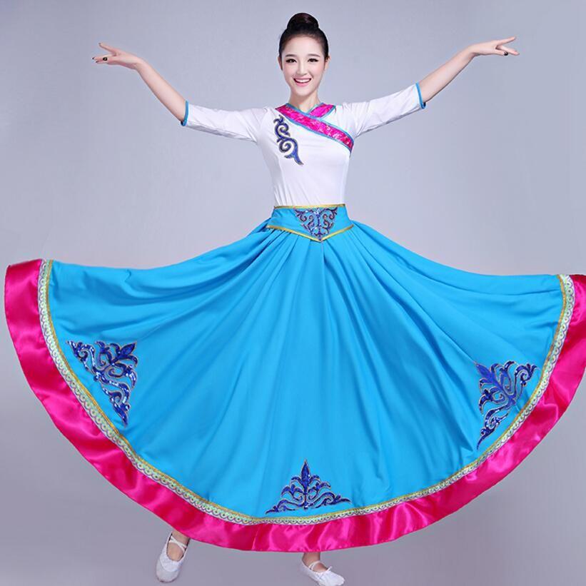 Çin Halk Dansları Kostüm ulusal sahne giyim Moğol Tibet tarzı Performans elbise (üst + Uzun etek) bayan karnaval dans giyim