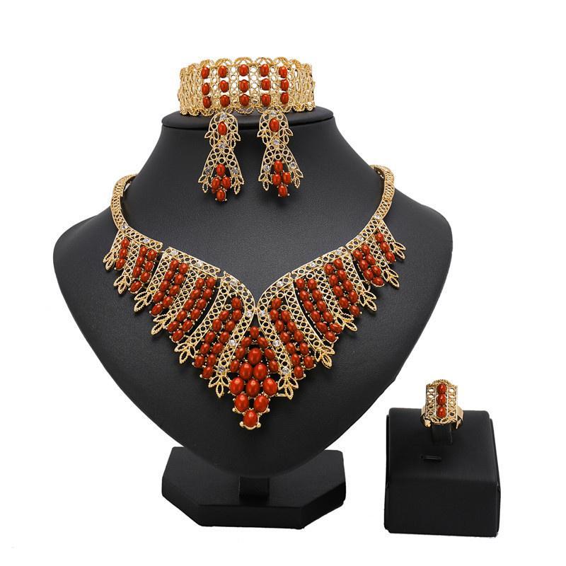 série de bijoux, bijoux turque, la conception de branche perles rouge de l'atmosphère de bijoux de mariage nigérien chaud