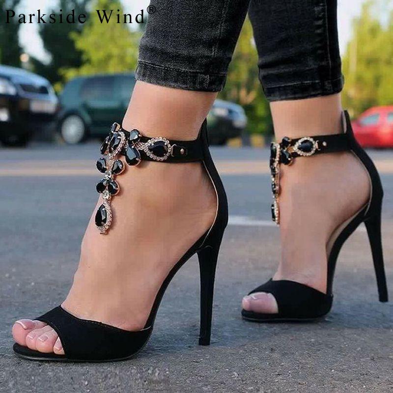 Commercio all'ingrosso strass donne sandali peep toe tacchi alti di lusso catena di diamanti diamantate partito scarpe a spillo donne XWC1385-45