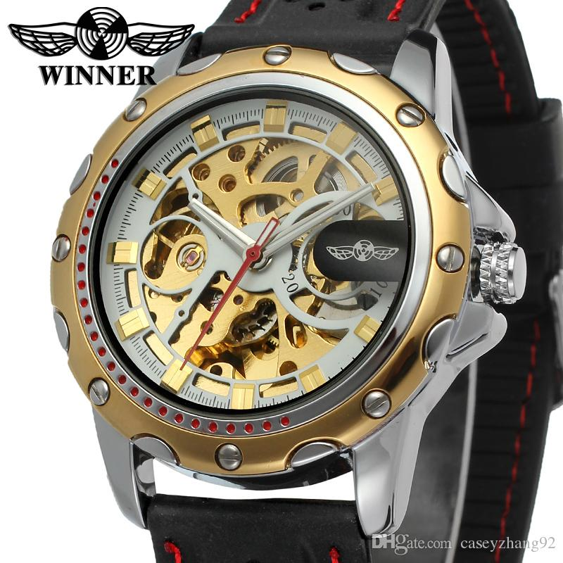 NEW WINNER Fashion Men's Silicone sports Watch Skeleton Hand-Winding Mechanical Wristwatch military clock Erkek Kol Saati