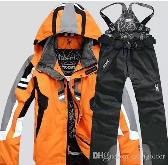 Nueva Moda camping esquí traje de algodón Forro senderismo chaqueta de esquí de los hombres de la chaqueta a prueba de viento caliente y Pantalones Set 2pcs set Deportes