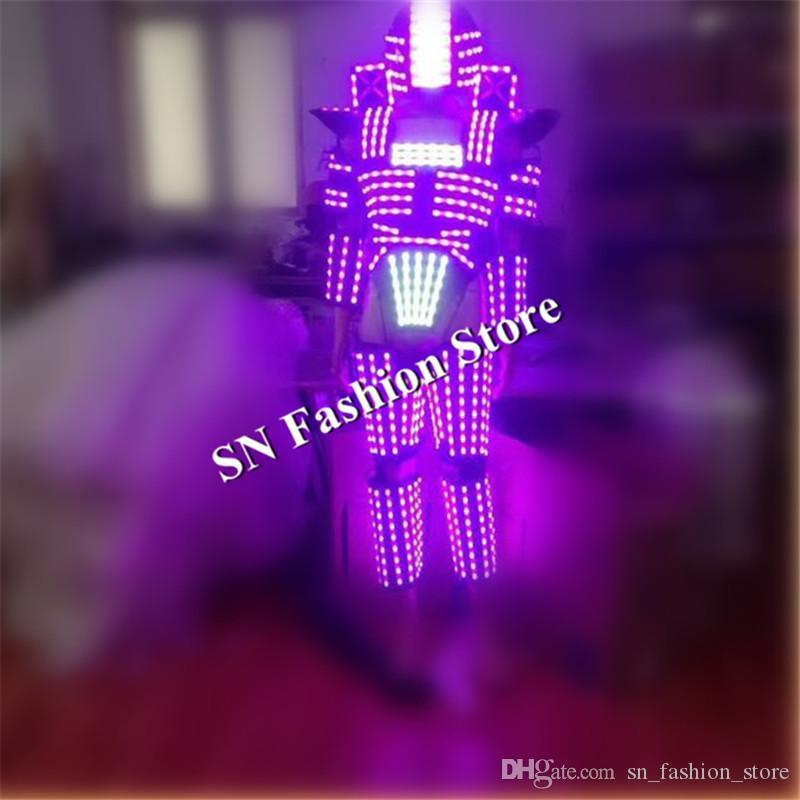 L96 RGB light led costumes dance robot clothes ballroom lighting mens wears led robot helmet led mask stage dj robot suit performance disco