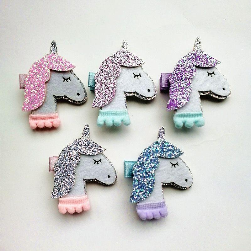 20pcs / lot Yeni At Renkli Çocuklar Glitter Firkete Hayvanlar Kız Sevimli Pembe Unicorn Saç Klip Firkete Sentetik Deri Bebek Klipleri Keçe