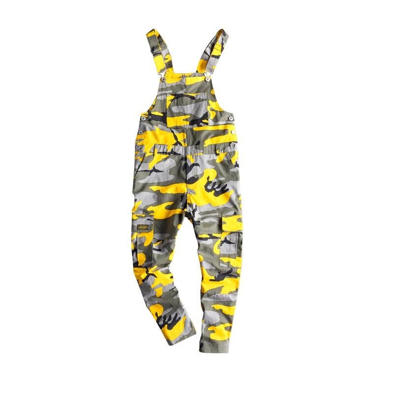 MORUANCLE Men's Camouflage Cargo Denim Bib Overalls Hip Hop Jeans Jumpsuits Camo Workwear Suspender Pants With Multi Pockets