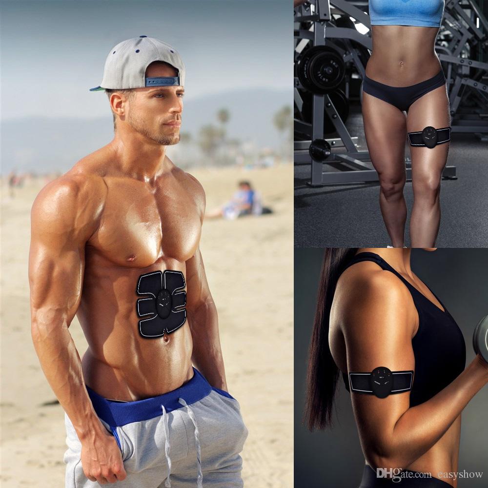 Venta al por mayor estimulador muscular EMS estimulación del cuerpo que adelgaza la máquina de la belleza del músculo abdominal ejercitador dispositivo de entrenamiento masajeador corporal