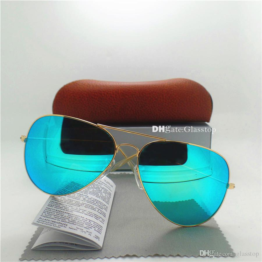 High Quality Glass Lens Fashion Men Women Gold Frame Sunglasses UV400 58MM 62MM Mirror Unisex Pilot Classic Brand Designer With Box Case