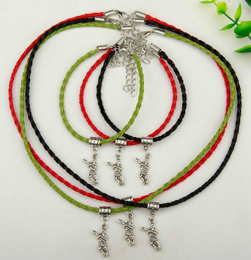 10set/lot Alloy Ancient Silver Hockey Player Charm Pendants Multicolor Braided Rope Necklace Bracelet Sets Women&Men Jewelry Holiday Gift