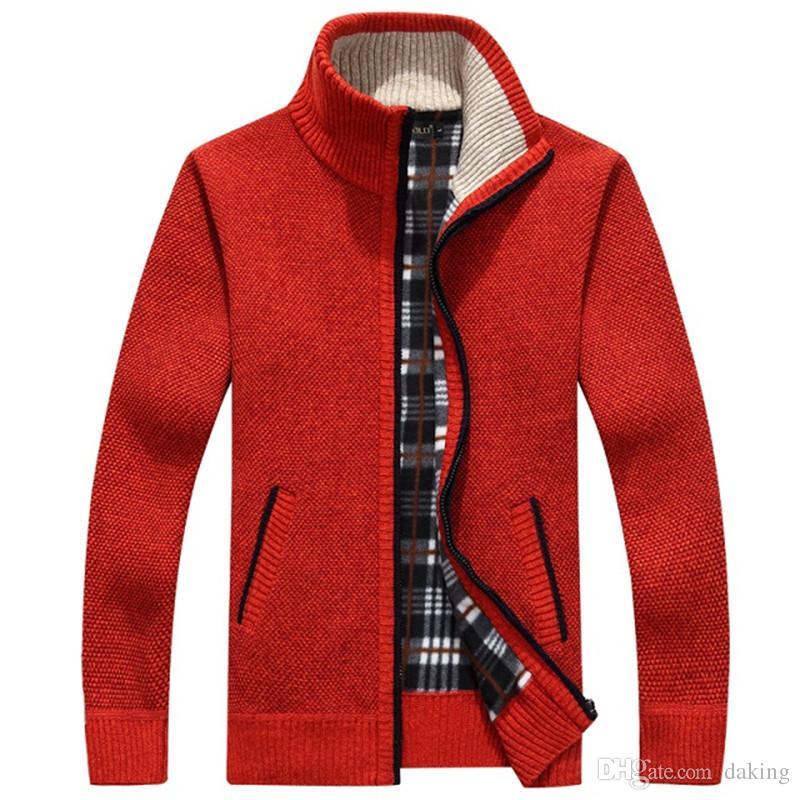 Men Cardigan Sweaters Autumn Winter Warm Cashmere Wool Zipper Cardigan Casual cotton Knitwear Plus Size RED beige Handsome Mandarin Collar
