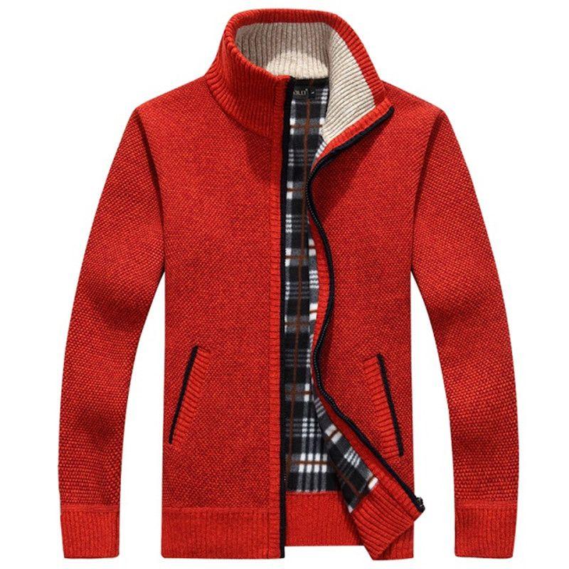 Homens Cardigan Sweaters outono inverno quente Cashmere Wool Zipper Cardigan de algodão Casual Knitwear Plus Size RED bege bonito gola mandarim