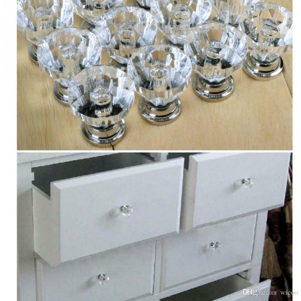 12 pçs / lote maçanetas de vidro de cristal gaveta do armário móveis cozinha lidar com maçaneta
