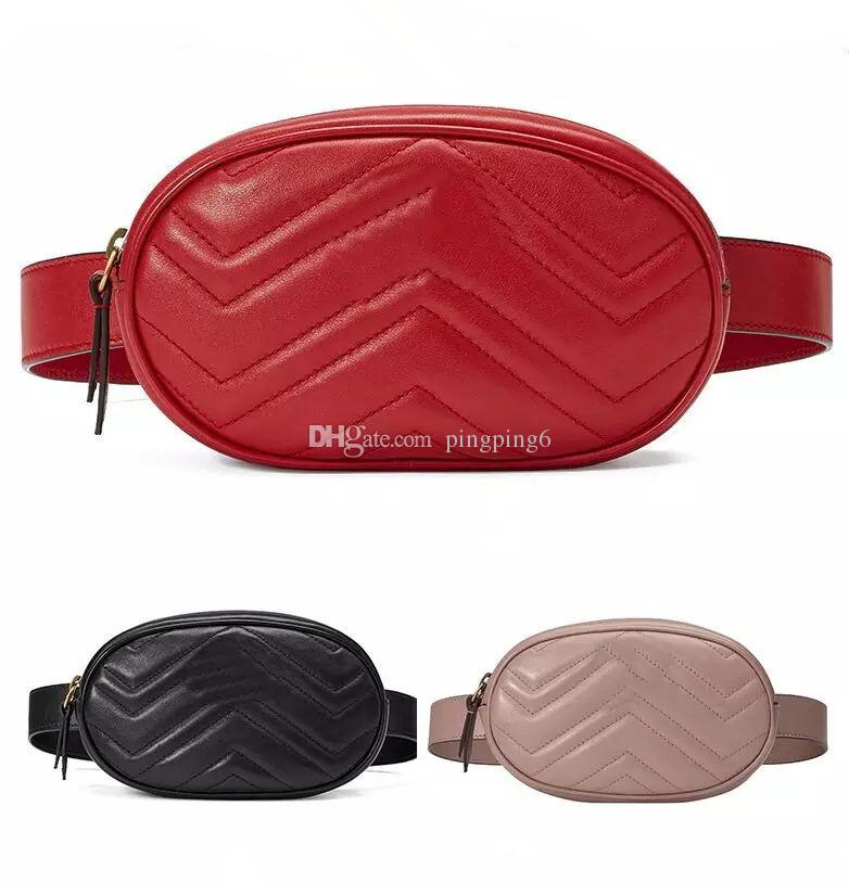 Free Ship Design Waist Bag Black cowhide Heart waist Bags wallet Women Red waist crossbody bag 476434