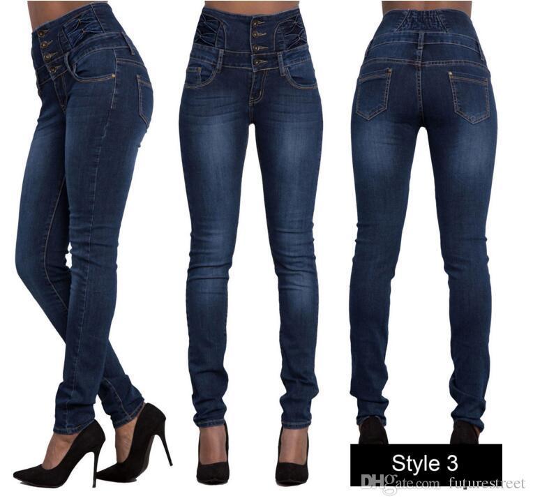 amplia selección de colores y diseños Tienda estilo de moda Compre 2018 Mujeres Jeans De Cintura Alta Mujer Stretch Jeans De Cintura  Alta Skinny Plus Size Damas Jeans De Cintura Alta Straight Mom Jeans Para  ...