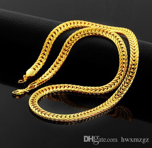 Nuevo Collar 18K SÓLIDO chapado en oro Flat Foxtail Collar de los hombres