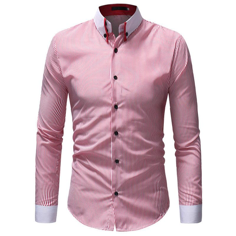 Slim Fit Check Point Col Rayé Robe Chemises Hommes Vêtements 2018 À Manches Longues Mans Chemises Casual Male Social Shirt