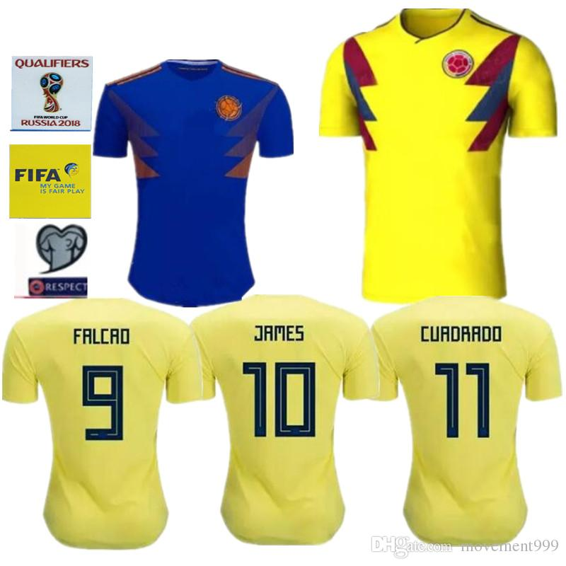 best sneakers 531d5 69ed1 2019 2018 Colombia Soccer Jerseys Russia World Cup Jersey 10 JAMES 9 FALCAO  11 CUADRAD 8 AGUILAR 13 GUARIN 6 SANCHEZ Football Shirt From Movement999,  ...