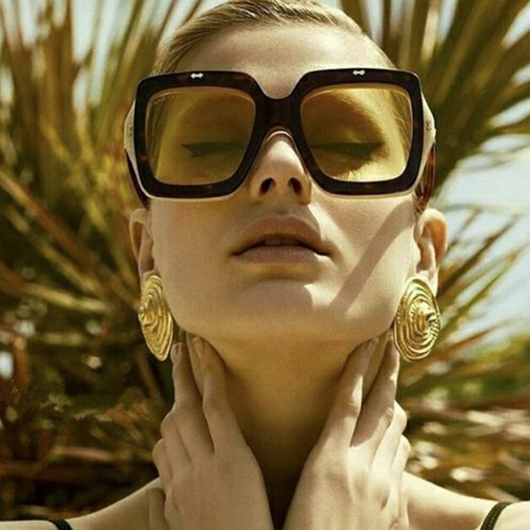 Unique femme surdimensionnées Lunettes de soleil carrées Flip Up lentille claire Rerto Vintage Lunettes de soleil Lunettes Lunettes De New Sol