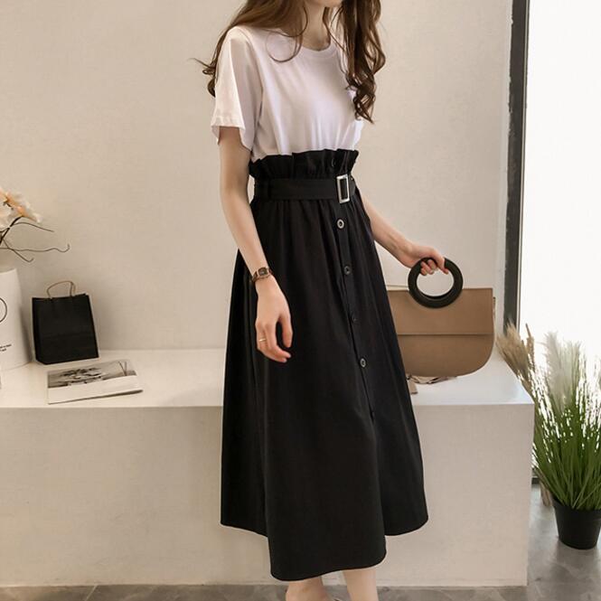 2018 Fashion Women's Set Mid-Calf Skirt Crop Tops 2 Pieces Women Set High Waist A Line Skirt Sexy Clubwear Tops Suits