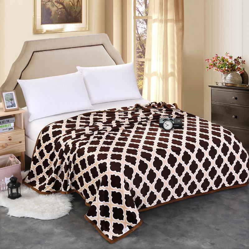 Comfortable And Soft Modern Style Coffee Throws Blanket Lattice Printed Pattern Sofa/Couch Bed/Plane Travel Blanket