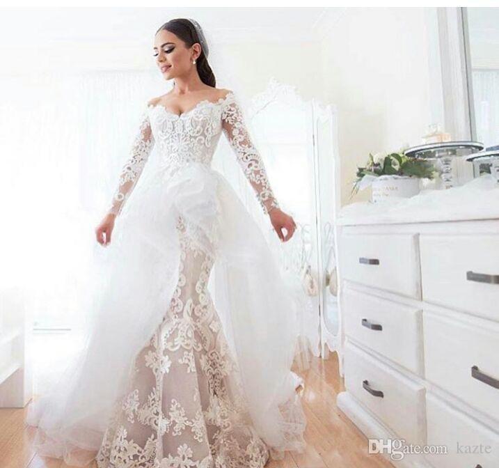 2018 Vestidos de novia de sirena con apliques de encaje en el hombro Ilusión de manga larga con volantes asimétricos Vestidos de novia con volantes con gradas de novia