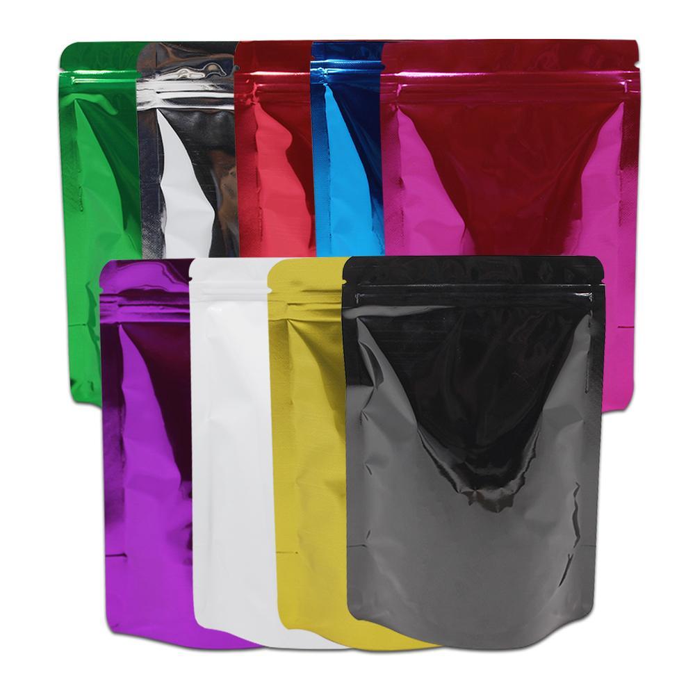 50pcs / lot multi papier d'aluminium coloré tenez les sacs de poche pour le stockage de noix de thé d'haricots Doypack Mylar emballage de sac avec la tirette